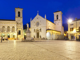 Italy, Umbria, Perugia District, Monti Sibillini National Park, Norcia, Piazza San Benedetto Photographic Print by Francesco Iacobelli
