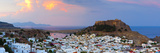 Lindos Acropolis and Village Illuminated at Dusk, Lindos, Rhodes, Greece Photographic Print by Doug Pearson