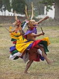 Dancers Perform Shazam Tam, Dance of the Four Stags Outside Punakha Dzong, Dance Commemorates the S Photographic Print by Nigel Pavitt