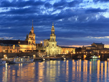 Germany, Saxony, Dresden, Elbe River and Old Town Skyline Photographic Print by Michele Falzone