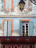 Arles, Bouches Du Rhone, France, Sign of a Butcher's Shop and a Brightly Painted Facade Photographic Print by Ken Scicluna