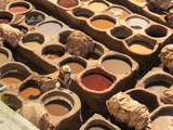 Morocco, Fes, Medina (Old Town), Traditional Old Tanneries Photographic Print by Michele Falzone