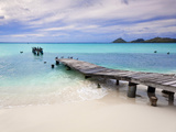 Venezuela, Archipelago Los Roques National Park, Pier on Madrisque Island Fotografisk tryk af Jane Sweeney
