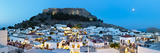 Lindos Acropolis and Rooftop Restaurants Illuminated at Dusk, Lindos, Rhodes, Greece Photographic Print by Doug Pearson