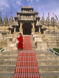 India, Rajasthan, Ranakpur, a Priest at the Famous Chaumukha Mandir, an Elaborately Sculpted Jain T Photographic Print by Amar Grover