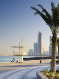 United Arab Emirates, Abu Dhabi, Corniche, Lifeguards and Skyline Photographic Print by Alan Copson