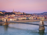 Fisherman's Bastion, the Chain Bridge and River Danube Illuminated at Dawn, Castle Hill, Budapest,  Photographic Print by Doug Pearson