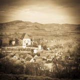 Elevated View over Biertan at Sunset, Biertan, Nr, Sighisoara, Transylvania, Romania Photographic Print by Doug Pearson