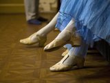 St.Petersburg, Russia, Detail of Ballerinas Shoes and Dress During a Short Rest Backstage During th Photographie par Ken Scicluna