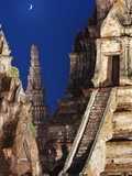 Thailand, Ayutthaya, Wat Chai Watthanaram at Dusk Photographic Print by Shaun Egan