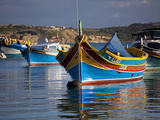 Malta, Europe, Colourful Traditional Maltese Boats known Locally as 'Luzzu' in the Village of Marsa Photographic Print by Ken Scicluna
