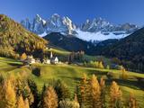 Mountains, Geisler Gruppe/ Geislerspitzen, Dolomites, Trentino-Alto Adige, Italy Fotografisk tryk af Gavin Hellier