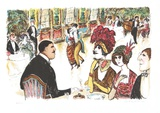 Cafe with Tango Dancers Reproduction pour collectionneurs par Edward Plunkett