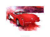 &#39;57 Red Corvette Premium Giclee Print by Bruce White