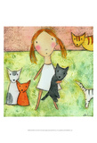Girl with Cats Posters by Carla Sonheim