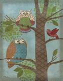 Fantasy Owls Vertical II Poster van Paul Brent