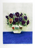 Purple Pansies in Cup Limited Edition by Mary Faulconer