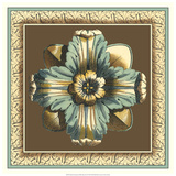 Printed Chocolate & Blue Rosette II Giclee Print by Vision Studio