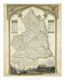 Map of Northumberland Giclée-tryk
