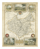 Map of Leicestershire Giclee Print