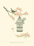 Small Birds on a Branch I Posters by Nancy Slocum