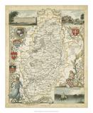 Map of Nottinghamshire Giclee Print