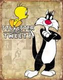 Tweety & Sylvester Retro Plaque en métal