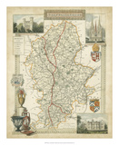 Map of Staffordshire Giclee Print