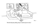 """Harold still prefers falling asleep to traditional print media.""  - New Yorker Cartoon Premium Giclee Print by Michael Shaw"