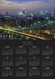 Manhattan Bridge and Skyline at Night Prints by Michel Setboun