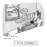 A farmer sits on his bed and holds a phone or handheld gaming device emitt… - New Yorker Cartoon Premium Giclee Print by Joe Dator