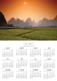 Rice fields an chalk mountains at twilight, Yangshou, Guangxi Province, China Poster by Frank Krahmer