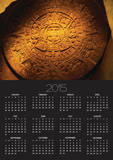 Aztec Carved Calendar Stone Print by Randy Faris