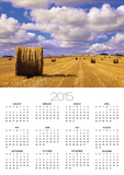 Bales and Clouds Near Sherbrooke, Saskatchewan, Canada. Poster by Mike Grandmaison