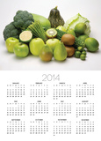 Stack of green fruits and vegetables Prints
