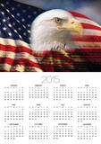 Bald Eagle Head and American Flag Print by Joseph Sohm