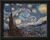 Starry Night, White Border, Text Prints by Vincent van Gogh