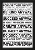 Mother Teresa Anyway Quote Poster Print