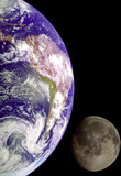 Earth and Moon from Space Stampa