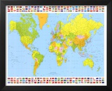 Map of the World (With Flags) Art Poster Print Prints