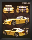 Dodge Viper (GTS-ACR, Yellow) Art Poster Print Prints