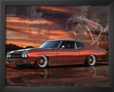 1975 Chevy Chevelle Red Car Art Print Poster Posters