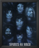 Spirits of Rock (Jim Morrison Jerry Garcia Kurt Cobain Joey Ramone Keith Moon Hutchence) Poster Prints