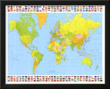 Map of the World (With Flags) Art Poster Print Print