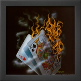 Burning Blackjack Prints by Michael Godard