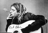 Kurt Cobain B& W Guitar Photo