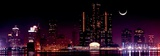 View of Detroit Skyline at Night and Moon, Michigan Print by Vladimir Mucibabic