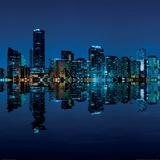 Miami Skyline at Night Posters by Carsten Reisinger