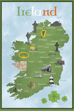 Ireland Map Kunstdrucke