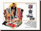 Filmposter James Bond, Live and Let Die, 1973 Kunst op gespannen canvas